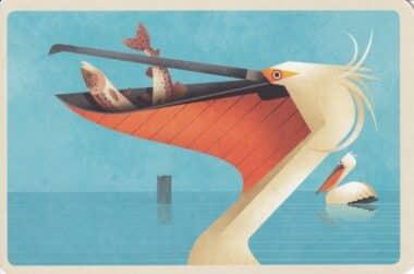 Dalmatian Pelican Bird Eating Fish Colorful Printed Postcard