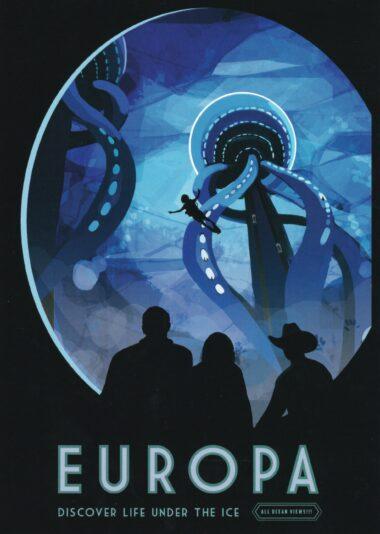 Futuristic NASA Travel to Europa Postcard