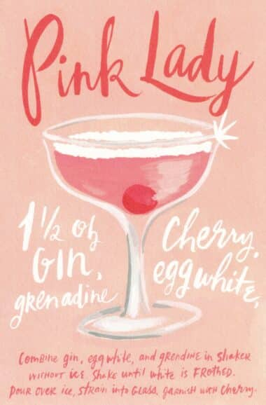 Pink Lady Classic Cocktail Drink Recipe Card Postcard