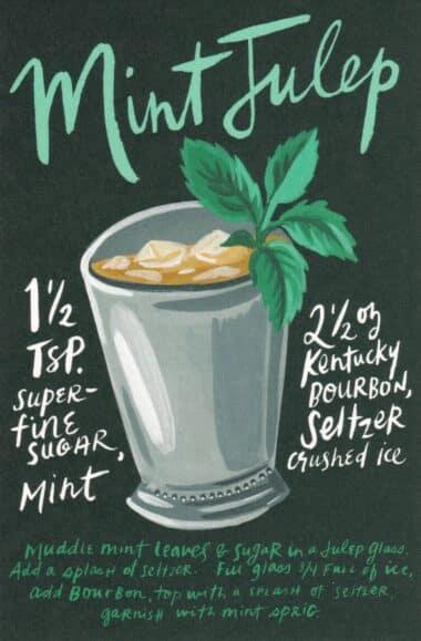 Mint Julep Classic Cocktail Drink Recipe Card Postcard