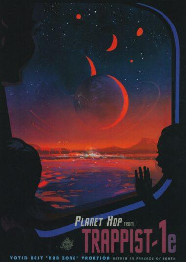 Futuristic NASA Space Travel Planet Hop Postcard