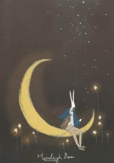 Crescent Moon Orchestra Rabbit Glow-in-the-Dark Moonlight Baron Postcard