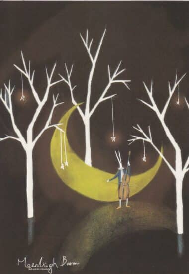 Crescent Trees Rabbit Playing Double Bass Glow-in-the-Dark Moonlight Baron Postcard