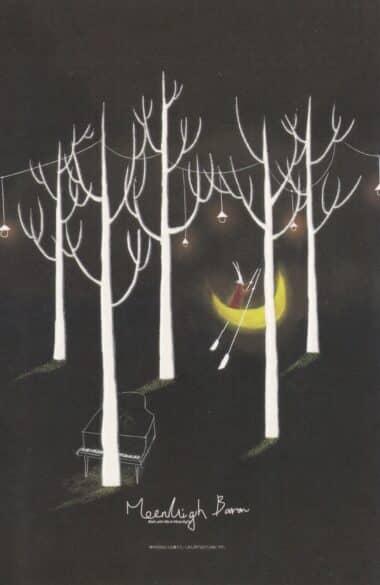 Moon Canoe Boat Piano Trees Glow-in-the-Dark Moonlight Baron Postcard