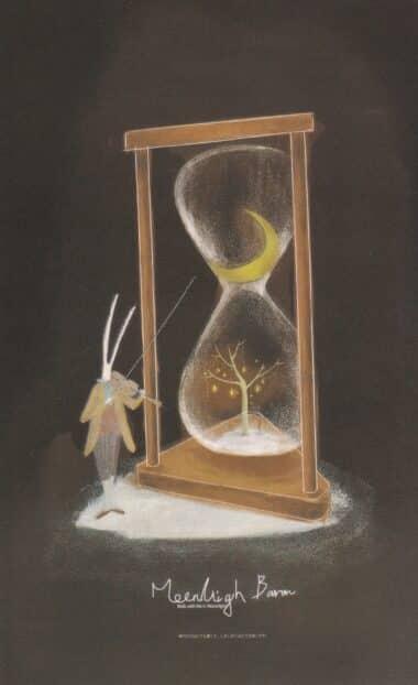 Hourglass Rabbit Violin Glow-in-the-Dark Moonlight Baron Postcard