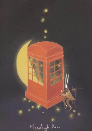 Telephone Box Glow-in-the-Dark Moonlight Baron Postcard