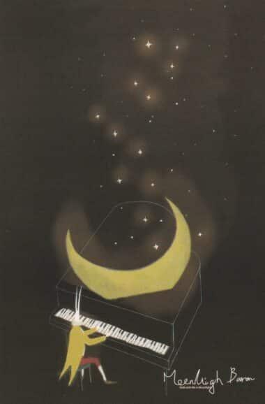 Moonlight Sonata Glow-in-the-Dark Moonlight Baron Postcard