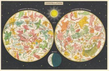 Constellations by Hemisphere Postcard