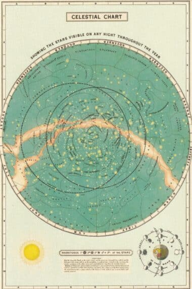 Celestial Chart With Magnitudes Postcard