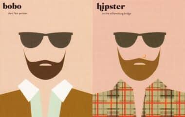 Paris vs. New York City Hipster Postcard