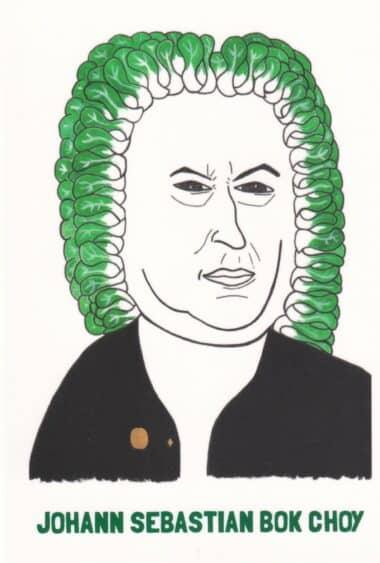 Johann Sebastian Bach Bok Choy Vegetable Celebrity Postcard