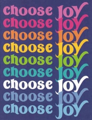 Choose Joy Rainbow Typography Postcard